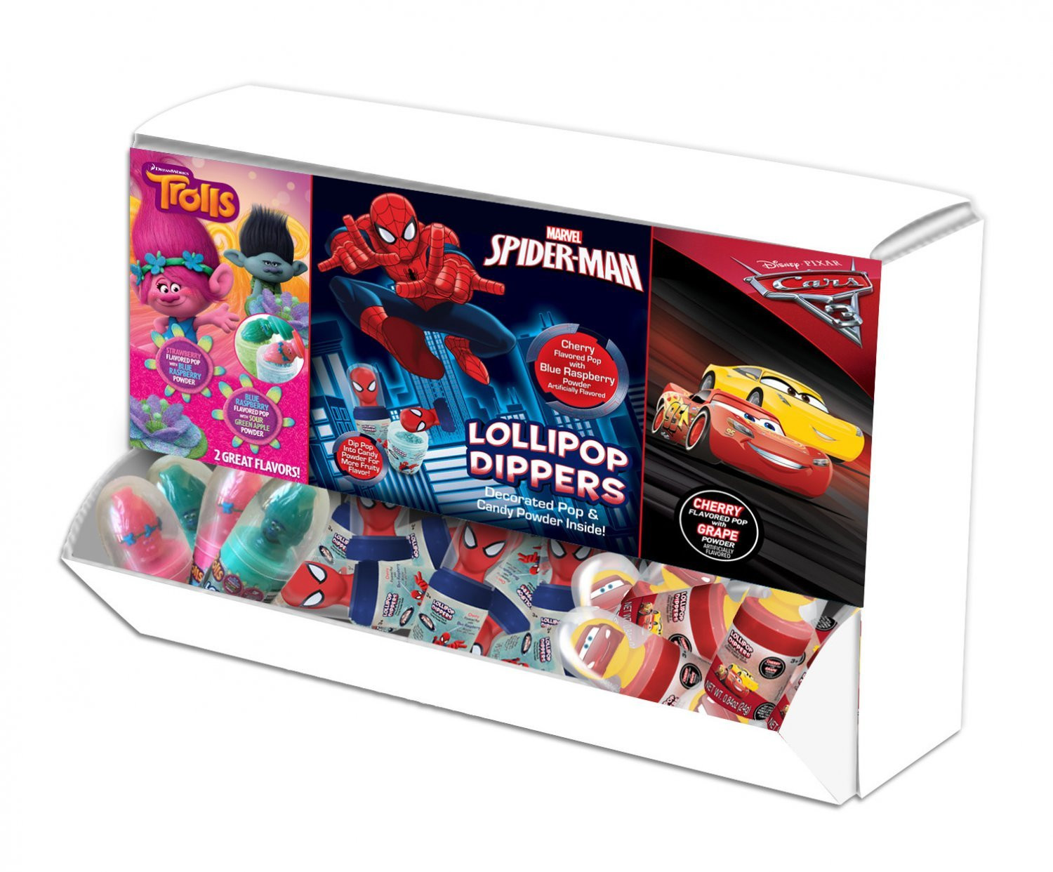 Disney Licensed Lollipop Dipper Power Panel - Trolls, Spider-Man & Cars 3