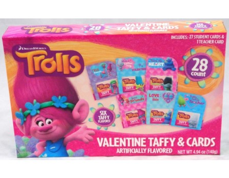 Trolls Valentine 28Ct. Card & Taffy Kit